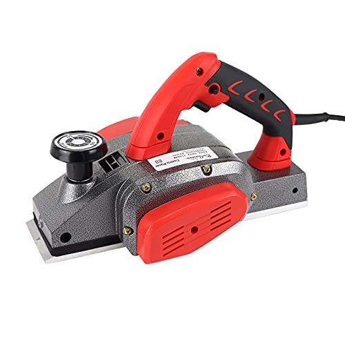 BriSunshine Pialla elettrica (1100W, 220V, profondità di taglio 0-2mm, larghezza di piallatura 74 mm), Piallatrice Elettrica a mano con spazzole di carbone di ricambio e cinghia di trasmissione