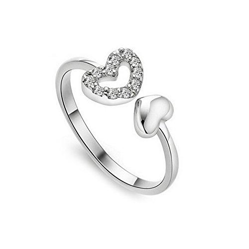 Demarkt–Anillos Mujer Ajustable Cristal Corazón circón eröffnung anillos