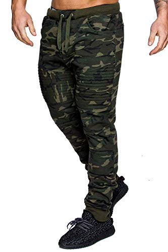 Men's Casual Joggers Fitness Sweatpants Military Camouflage Slim Fit Harem Trouser Pants (Green Camouflage, XL)