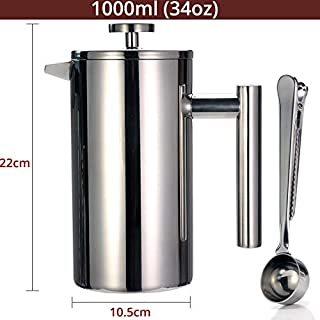 French Press Coffee Maker - Double Wall 304 Stainless Steel - Keeps Brewed Coffee or Tea Hot-3 size with sealing clip/Spoon (1000ml)