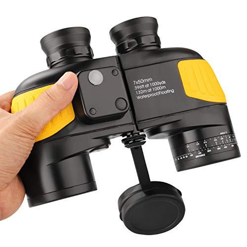 QUNSE BAK4 Militärisches Nautisches Fernglas 10x50, mit entfernungsmesser - Entfernungsmessen mit dem Kompass, großes Objektiv für weites Feld (Gelb)