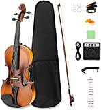 LAGRIMA 4/4 Beginner Electric Violin, Handcrafted Acoustic Violin Starter Kit with Beginner Violin Notes Sticker, Case, Bow, Tunner,Rosin and Chin Rest, Powerful Amp