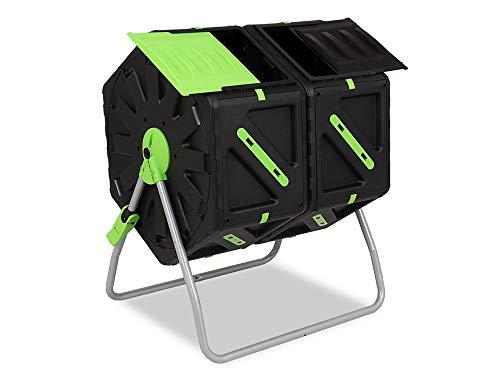 Garden Point Compostiera a Tamburo 2 x 70l | Dotato di Fori di Ventilazione | Realizzato in Polipropilene e Acciaio Inossidabile | da Utilizzare in Qualsiasi Condizione atmosferica | 74 x 60 x 63 cm
