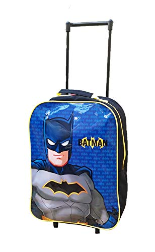 Kids Trolley Cabin Bag Suitcase with Wheels and Telescopic Handle - Ideal for Short Breaks, Holidays, sleepovers and School Trips (Batman)