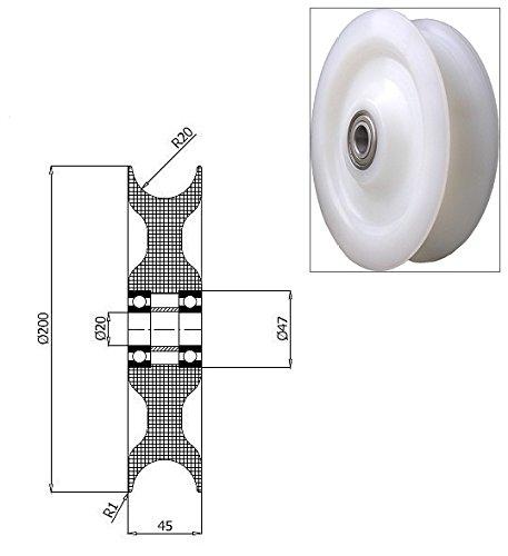 Zabi Seilrolle d = 200 mm fur Seil 40 mm Kunststoffprofilrollen Nylon mit Lagerung (Kugellager)