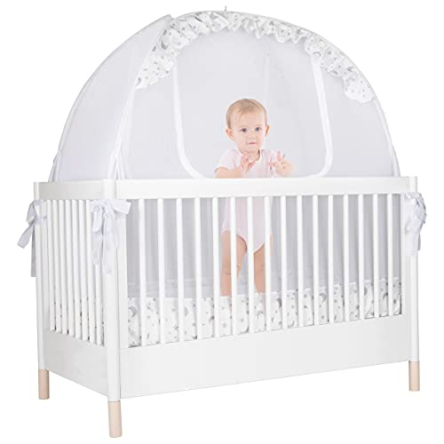 Pro Baby Safety - Baby Crib Safety Pop up Tent: Premium Baby Canopy Netting Cover - See Through Mesh, Nursery Mosquito Net - Stylish and Sturdy Infant Crib Tent - Protect Your Baby from Falls and Bite