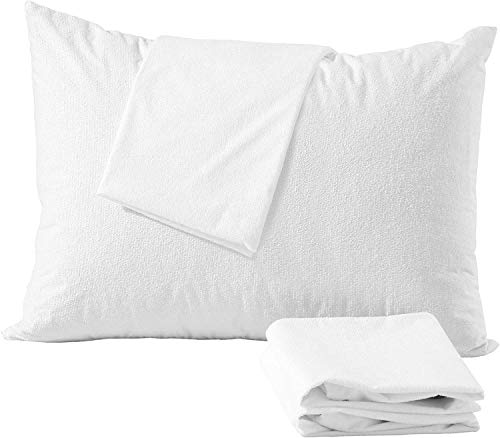 4 Pack Cotton King Pillow Protectors 100% Waterproof Life Time Replacement?? Zippered Cotton White Terry Pillow Encasement Washable Long Life Soft Breathable Fabric Set