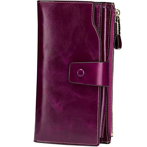 Itslife Women's RFID Blocking Large Capacity Luxury Wax Genuine Leather Cluth Wallet Ladies Card Holder (Fuchsia RFID Blocking)