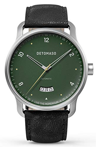 DETOMASO VIAGGIO Automatic Green Herren-Armbanduhr Analog Quarz Italienisches Lederarmband Schwarz