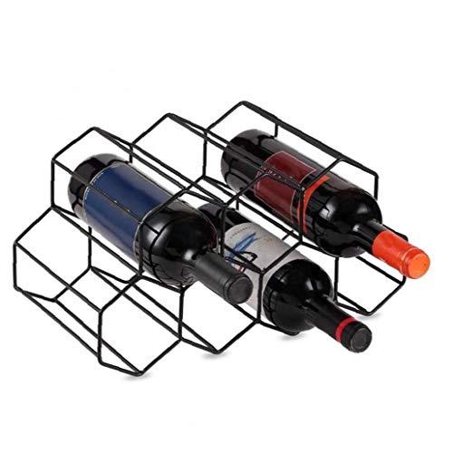 Odoukey Autoportante Estante del Vino para los gabinetes, Estante de la Botella con brocha del Metal del diseño geométrico para encimeras de Cocina