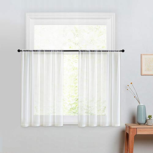 MRTREES Kitchen Tier Curtains Sheer 24 inches Long Off White Window Curtain Tiers Bathroom Small Window Voile Cafe Curtains Short Sheers Rod Pocket 2 Panels Basement Half Window Curtains