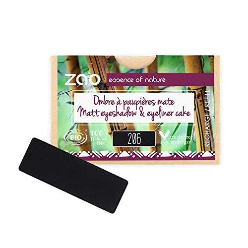 Zao Rectangle Eye Shadow Rechteckiger Matter Lidschatten Black Eyeliner Cake Nr.206 Refill Nachfüllpackung