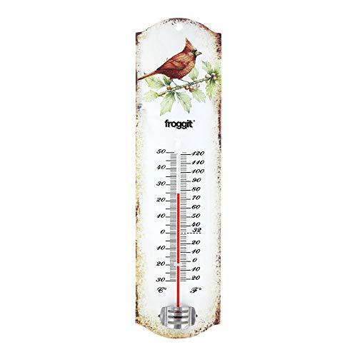froggit Vintage Blechthermometer Gartenthermometer Außenthermometer mit Vogelmotiv