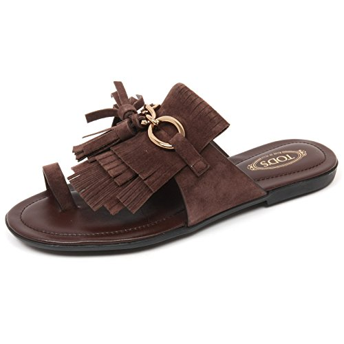 Tod's C9098 Infradito Donna Scarpa Sandalo Frangia Marrone Shoe Woman [36]