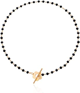 Chennie Boho Seed Beaded Choker Necklace Black Short Flower Necklaces Chain Dainty Bead Jewelry for Women and Girls