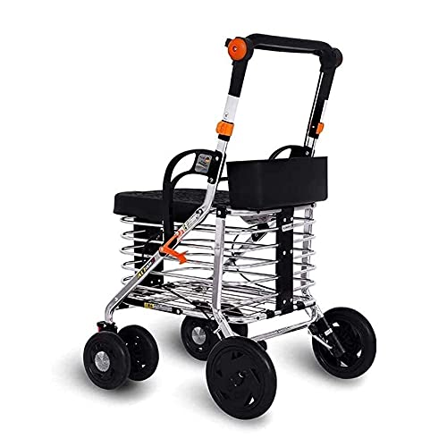 Caminantes para personas mayores Confíe en Walking Walker para personas mayores Rollator Rollator With Wheels Lightweight Aluminio Plegable Walker Marco para caminar con asiento acolchado Braketable B 🔥