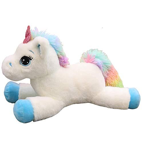 Georgie Porgy Kinderen Pluche Eenhoorn Teddy Knuffel met Veelkleurige Regenboog Staart Knuffel Pony Knuffels Cadeaus Voor Meisjes Leeftijd 3+ (Blauw 15'')