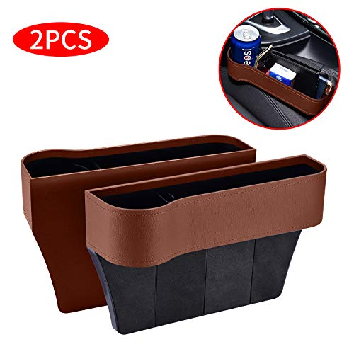 2 Packs Car Seat Gap Filler PU Car Seat Organizer with Cup Holder, Car Console Side Organizer for Cellphone,Wallet, Cup Holder, Various Cards(Brown)