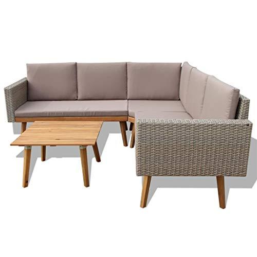 mewmewcat 13-TLG. Polyrattan Lounge Set Loungemöbel Loungeset Loungegruppe Grau - 3