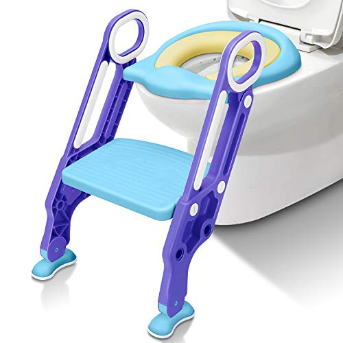 Potty Training Seat with Step Stool Ladder SunBorder Chair for Kids Baby and Toddler Toilet Training with Handles Padded Seat Wide Step Non-Slip (Blue Green) (Blue+Purple +PU Cushion)