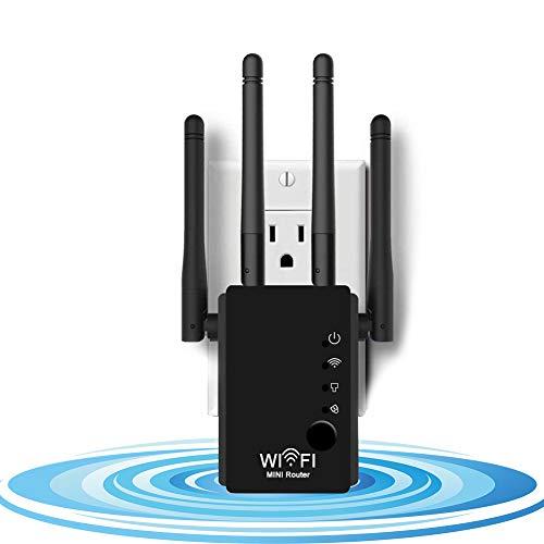 DCUKPST Ripetitore Segnale WiFi, 300Mbps Amplificatori WiFi 2.4GHz Wireless Range Extender Repeater con 4 Antenne Potenzia la Tua Copertura WiFi, Supporta la modalità AP/Repeater/Router