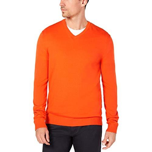 Alfani Mens Slim Fit V-Neck Sweater Orange L