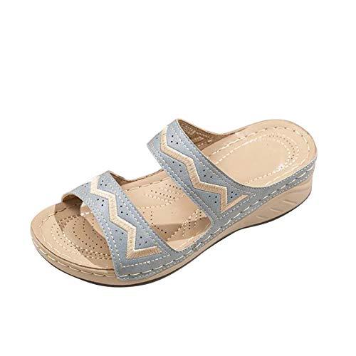 Nuevo 2021 Chanclas Mujer Sandalias Mujer Verano Moda Elegante Zapatos de plataforma Cuña Playa Roman Zapatillas planas Sandalias de Punta Abierta casual Fiesta Tacones Altos