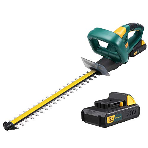 URCERI Cordless Hedge Trimmer 20V MAX 22 Inch Hedge Trimmer Dual Action Laser Blade with 2.0 Ah Lithium Battery and Fast Charger