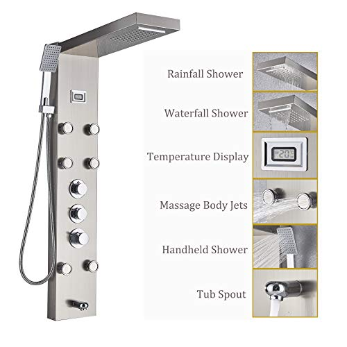 Rozin Brushed Nickel 5-Function Shower Panel Thermostatic Mixer Control Waterfall Rain Shower Faucet...