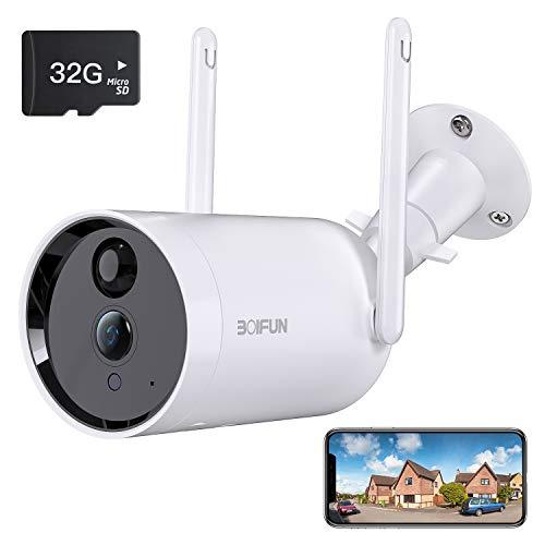 Telecamera WiFi Senza Fili da Esterno,[Scheda SD da 32 GB Installata] BOIFUN Sicurezza Sorveglianza con 10400 mAh Batteria,1080P,Rilevamento del Movimento Umano, Audio Bidirezionale, Visione Notturna
