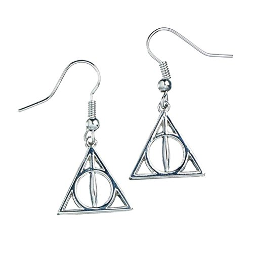 Harry Potter Pendientes chapados en plata con símbolo de las Reliquias de la Muerte