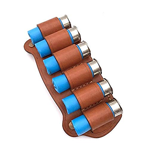 ACEXIER 6 Round Leather Tactical Hunting Ammo Bullet Holster Shotgun Shell Holder Cartridge Belt Canvas Genuine Magazine Pouch