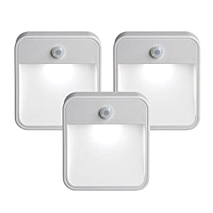 Mr. Beams MB 723 MB723 Battery-Powered Motion-Sensing LED Stick-Anywhere Nightlight, 3-Pack, White, 3 Count