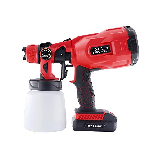 550W Cordless Electric Paint Sprayer,Battery Powered HVLP High Power Handheld Spray Gun,3 Spray Patterns with 800ml Container for Spraying Home Outdoor