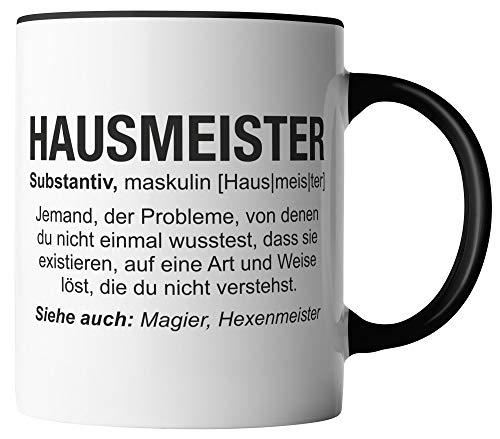 vanVerden Tasse - Hausmeister Wikipedia - Job Motto Beruf - beidseitig Bedruckt - Geschenk Idee Kaffeetassen mit Spruch, Tassenfarbe:Weiß/Schwarz