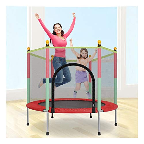 Sallymonday Imported 5ft Kids Trampoline with Safety Enclosure Net & Spring Pad Indoor/Outdoor, Spring Cover Padding Powerful Loading Capacity for Kids Gift