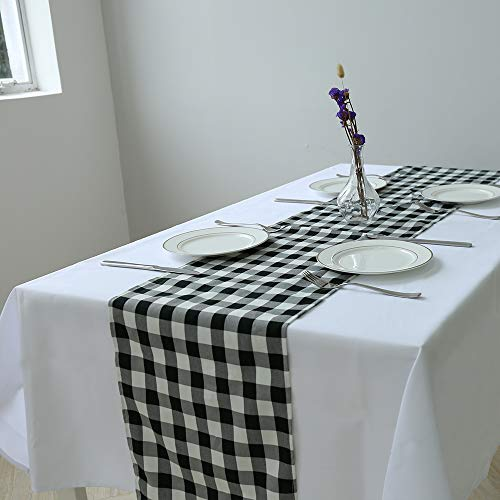 Zdada Buffalo Check Table Runner - 12x144inch Polyester Checkered Table Runner Black and White for Banquet Home Camping