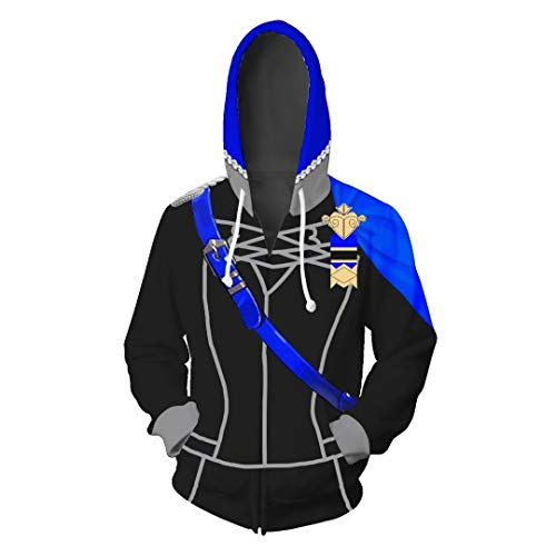 Alisoya Fire Emblem Unisex 3D Printed Casual Zip-up Sports Jacket Sweater Hoodie with Kangaroo Pocket Three Houses Long Sleeve Tops Couple Jumper Pullover for Men Women Cosplay Costume