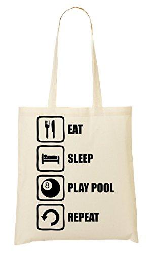 C+P Eat Sleep Play Pool Repeat Funny Black Graphic Tragetasche Einkaufstasche