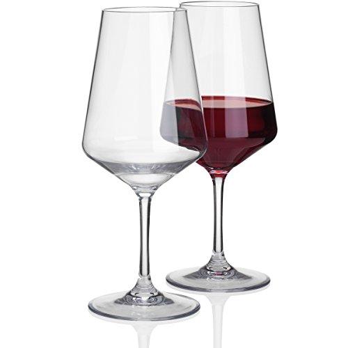 2 Stück 570ml Rotwein Glas Deluxe 100% Polycarbonat in Echtglasoptik - Camping Gläser Rotweinglas Wasserglas Kunststof