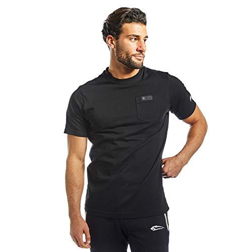 SMILODOX Herren T-Shirt Pocket | Kurzarm Funktionsshirt für Sport Fitness Gym & Training | Trainingsshirt - Laufshirt - Rundhals Sportshirt, Farbe:Schwarz, Größe:L