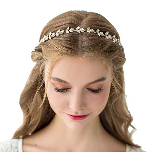 SWEETV Strass-Braut-Haarband, Kristall, Hochzeit, Kopfschmuck, goldfarben, Haar-Accessoires für Braut, Brautjungfer, Blumenmädchen