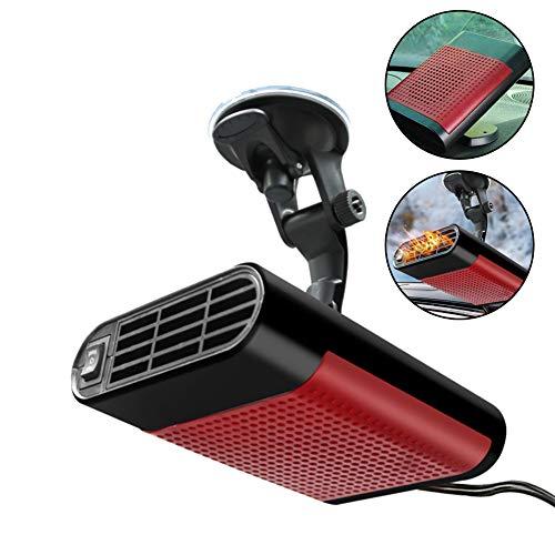 C100AE Auto Heizlüfter Tragbar, 2-in-1Auto Heizung und Ventilator, Auto Defroster Demister für Windschutzscheibe, Plug-in Zigarettenanzünder, 12V 150W,360-Grad-Drehbasis & Saugnapfboden(Rot)