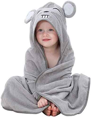 MICHLEY Animal Hooded Baby Bath Towel Toddler Premium Cotton Absorbent Bathrobe for Girls Boys product image