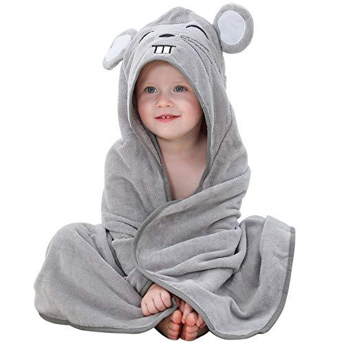 MICHLEY asciugamani con cappuccio bimbo 100% cotone naturale accappatoio bambina animale, Teli da spiaggia extra large 90x90 cm per bambino 0-6T Grigio