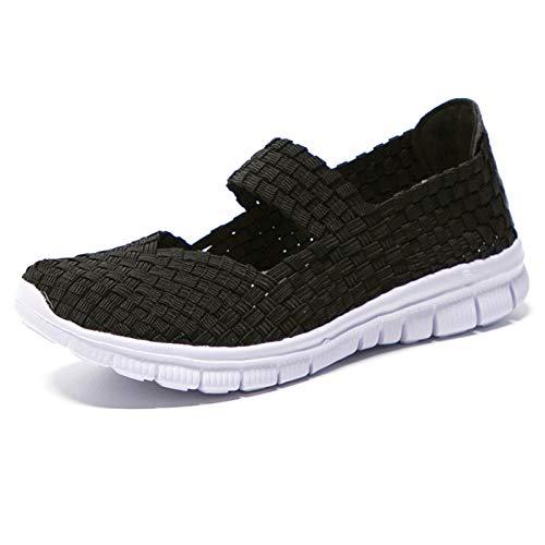 Blivener Damen Geflochtene Leichte Elastische Gemütlich Slip-On Schuhe Loafers Turnschuhe Draussen Wanderschuhe Sport Wasser Schuhe A Schwarz 41