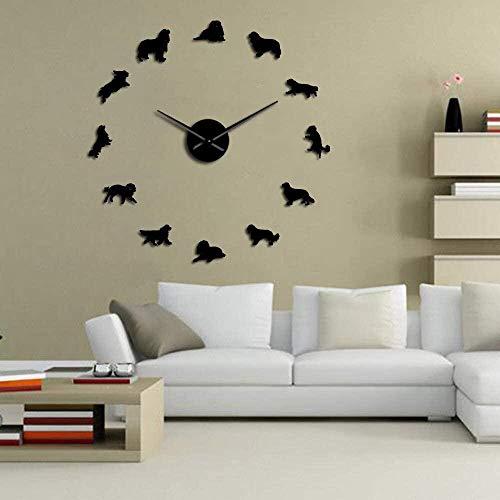 Reloj de pared 3D con decoración de calcomanías Cavalier King Charles Spaniel Reloj de pared mudo preciso y fácil de colgar en la pared, adecuado para el hogar / oficina / hotel_black-47 pulgadas
