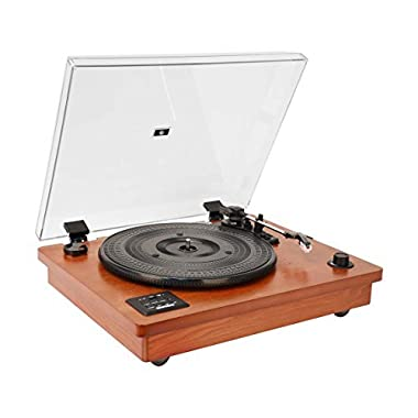 HOFEINZ Vintage Natural Wood Turntable 3-Speed Belt Driven with Built-in Stereo Speakers Bluetooth Vinyl-To-MP3 Recording