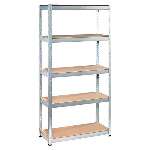 Tangkula 5-Shelf Steel Shelving Unit, 60in Heavy Duty Storage Rack with Adjustable Shelves, Boltless Shelving Unit for Free Combination, Garage Storage Tools, Metal Utility Shelves (1)