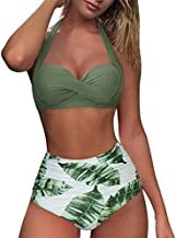 RXRXCOCO Women Vintage Halter Bikini Two Piece Underwire Swimsuit Sexy Ruched Bathing Suit Green Large